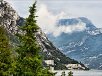 Италия. Озеро Гарда. Beautiful lake Garda landscape with fir trees and high mountains. Фото maigi.com -Depositphotos