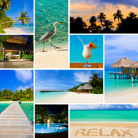 Мальдивы. Collage of summer beach maldives images. Фото Nikolai Sorokin - Depositphotos