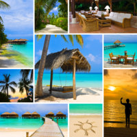 Мальдивы. Collage of summer beach maldives images. Фото Violin - Depositphotos