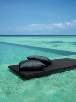 Shangri-La's Villingili Resort & Spa, Maldives. Villa Muthee - hues of turquoise from the infinity pool to the lagoon