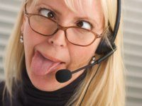 Bored Businesswoman with Phone Head. Фото Andy Dean - Depositphotos