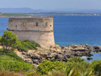 Италия. Садиния. Alghero. Tower of Lazzaretto Cape Galero. Фото sfocato - Depositphotos