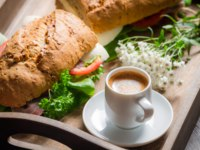 Italian breakfast with espresso and sandwich. Фото Shaiith79 - Depositphotos