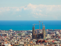 Испания. Каталония. Барселона.Panorama from Barcelona City. Фото Denis Babenko Depositphotos