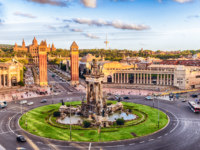 Испания. Каталония. Барселона. Aerial view of Placa d'Espanya, landmark in Barcelona, Catalonia, Spain. Фото marcorubino - Depositphotos