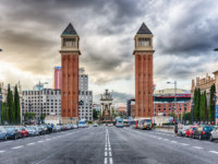Испания. Каталония. Барселона. Venetian Towers, iconic landmarks in Barcelona, Catalonia, Spain. Фото marcorubino - Depositphotos