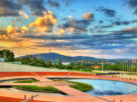 Reflection pond at Parliament House in Canberra, the capital of Australia. Фото Leonid_Andronov - Depositphotos
