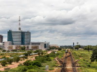 Ботсвана. Railroad and rapidly developing central business district, Gaborone, Botswana, Africa, 2017. Фото ambeon - Depositphotos