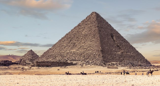 The Pyramid of Menkaure at sunset, is the smallest of the three main Pyramids of Giza, located on the Giza Plateau in the southwestern outskirts of Cairo, Egypt. Фото al