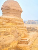 Египет. Пирамиды Гизы. The Great Sphinx sits on the plateau of Giza Necropolis and feces the old residential district of Giza town, Egypt. Фото efesenko-Depositphotos