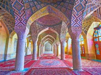 The Pink mosque is famous for its winter prayer hall, its perfect decorations attract tourists to visit and enjoy the architecture in Shiraz. Фото efesenko - Depositphotos