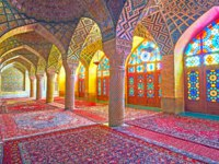 Иран. Шираз. Мечеть Насир оль-Мольк. The Pink mosque with its amazing stained glass windows, decorating its interior in Shiraz. Фото efesenko-Deposit