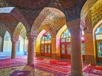 The winter hall of Nasir Ol-Molk mosque boasts outstanding decorations, that include stone carvings, tiled patterns in Shiraz. Фото efesenko-Deposit