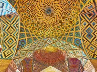 Иран. Шираз. Мечеть Насир оль-Мольк. The vault with small domes in winter prayer hall of Nasir Ol-Molk mosque in Shiraz. Фото efesenko - Depositphotos