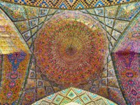 Иран. Шираз. Мечеть Насир оль-Мольк. One of the numerous domes of winter hall of Nasir Ol-Molk mosque with fine tiled patterns in Shiraz. Фото efesenko-Deposit