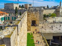 Израиль. Иерусалим. The view on the Jaffa Gate and David's fortress from the high city ramparts in Jerusalem. Фото efesenko-Depositphotos