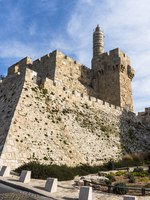 Израиль. Иерусалим. Башня Давида. Tower of David rises over the ancient walls of old Jerusalem near the Jaffa Gate. Фото ivanov.autobau.ru - Depositphotos