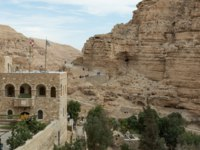 Near Mitzpe Yeriho, Israel, Fragment of the monastery of St. George Hosevit (Mar Jaris) in Wadi Kelt near Mitzpe Yeriho in Israel. Фото svarshik1-Depositphotos