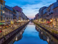 Италия. Канал Навильо-Гранде в Милане. Naviglio Grande canal in the evening, Milan, Italy. Фото fabryphuket.yahoo.it - Depositphotos
