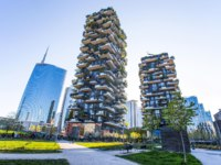 Bosco Verticale, vertical forest apartment and  buildings and Unicredit Tower in the area Isola of the city of Milan, Italy. Фото fabryphuket.yahoo.it - Depositphotos