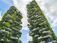 Bosco Verticale (Vertical Forest) low view. Designed by Stefano Boeri, sustainable architecture in Porta Nuova district, in Milan. Фото czamfir - Depositphotos