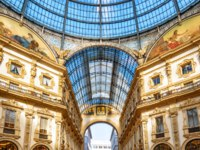 Inside the Galleria Vittorio Emanuele II in Milano. This gallery is one of the top Milan landmarks. Фото scaliger - Depositphotos