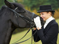 Horsewoman jockey in uniform with horse. Фото Dmitry Kalinovsky - Depositphotos