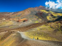 Италия. Сицилия. Катания. Beautiful valley landscape of The Mount Etna, Sicily, Italy. Colorful lava hills covered with plants and grass. Фото RS.photography-Deposit