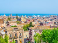 Италия. Сицилия. Катания. Aerial view of Catania, Sicily, Italy. Фото Dudlajzov - Depositphotos