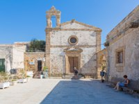 The fishing village of Marzamemi is in the deep south-east of Sicily, one of prettiest seaside villages, Italy. San Francesco di Paola church. Фото fs.fotos-Deposit