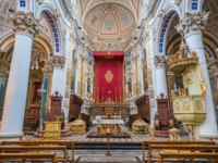 Клуб Павла Аксенова. Италия. Сицилия. Модика. Main altar in the Cathedral of San Pietro (Saint Peter) in Modica. Sicily, southern Italy. Фото e55evu-Deposit