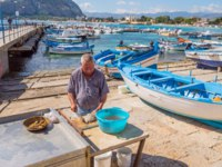Италия. Сицилия. Побережье Монделло. Sicilian emptying a fresh fish in the port of Mondello in northwestern Sicily near the city of Palermo. Фото philou-Deposit