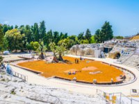 Италия. Сицилия. Сиракузы. Ruins of the Greek theatre in Syracuse, Sicily, Italy. Фото Dudlajzov - Depositphotos