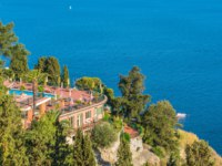 Италия. Сицилия. Таормина. Scenic sight in Taormina, famous beautiful city in the Province of Messina, Sicily, southern Italy. Фото e55evu - Depositphotos