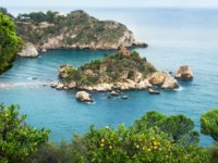 Италия. Сицилия. Таормина. Coastline and beach Isola Bella near Taormina. Sicily. Italy. Фото Bareta - Depositphotos