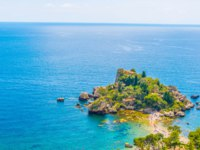 Италия. Сицилия. Таормина. Aerial view of isola bella near Taormina, Sicily, Italy. Фото Dudlajzov - Depositphotos