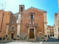 Италия. Сицилия. Таормина. Saint Catherine church at Piazza Badia in Taormina. Sicily, Italy. Фото Bareta - Depositphotos