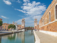 Италия. Венеция. Entrance to the Arsenale timelapse hyperlapse, Venice, Veneto, Itlay and the Campo de l'Arsenale. Фото neiezhmakov - Depositphotos