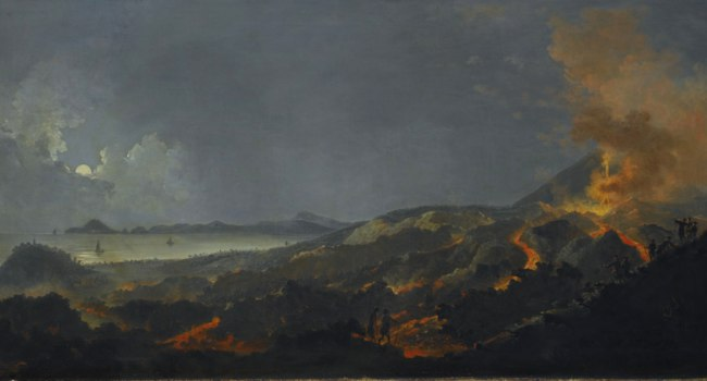 Картина Pierre-Jacques Volaire. Ночной пейзаж с извержением вулкана (A nocturne with a Coastal Landscape and an erupting Volcano)