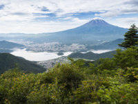Япония. Гора Фудзияма. Mountain fuji and Kawaguchiko lake in summer season. Фото Torsakarin - Depositphotos
