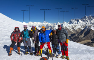 Group of Mountain Climbers in warm high altitude jackets and pants with gear and backpacks smiling and excited with Himalaya Summit Range with major peaks names and altitude. Фото AlexBrylov