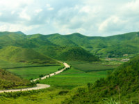 Северная Корея. Mountain road in North Korea. Mountains covered with green vegetation. Фото Mieszko9 - Depositphotos