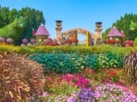 The view on amazing flower beds of Miracle Garden and its gate and cat installation on the background in Dubai. Фото efesenko - Depositphotos