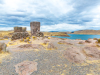 Funerary towers and ruins in Sillustani, Peru, South America- Inca prehistoric ruins near Puno,Titicaca lake area. Фото vitmarkov - Depositphotos