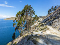 Боливия. Озеро Титикака. Hillside footpath with view to Titicaca lake at  Isla del Sol (Island of the Sun). Фото Hackman - Depositphotos