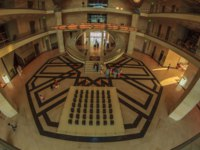 Катар. Доха. Музей исламского искусства. The entrance hall of The Museum of Islamic art Fish eye view. Фото Mabdelrazek - Depositphotos