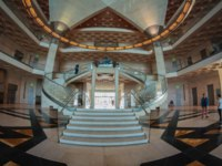 Катар. Доха. Музей исламского искусства. The entrance hall of The Museum of Islamic art Fish eye view. Doha, Qatar. Фото Mabdelrazek - Depositphotos