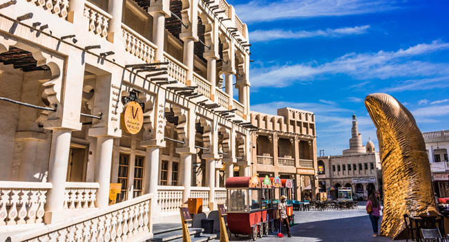 Катар. Доха. Рынок Сук-Вакиф. Traditional architecture of Souq Waqif, popular touristic destination in Doha, Qatar. Фото monticello - Depositphotos