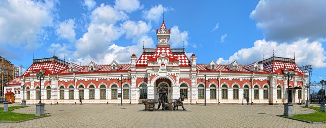 Panorama of facade of the Old railway station building. The building was built in 1878, now this is the Museum of History of the Sverdlovsk Railroad. Фото markovskiy-Dep