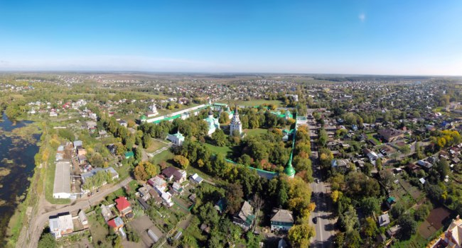 Aerial view of the Alexandrovskaya Sloboda. It served as the capital of Russia for three months (from December 1564 to February 1565) under Tsar Ivan the Terrible. Фото wa